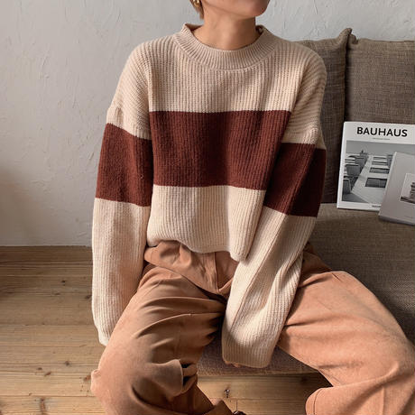 《予約販売》bi-color croped knit/2colors_nt0704