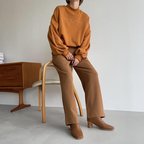【nokcha original】 quality two tuck wide pants/natural brown_np0465