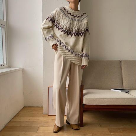 《予約販売》nordic pattern raglan knit/2colors_nt0756