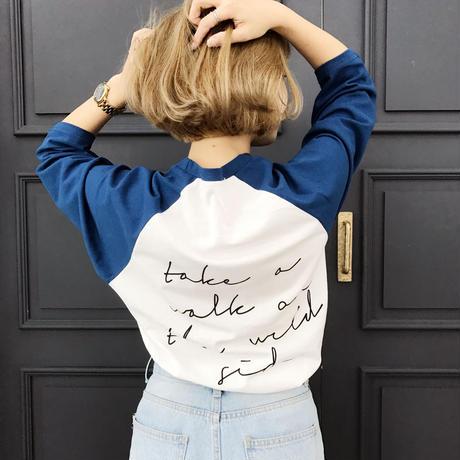 バックプリントラグランTシャツ/ブルー