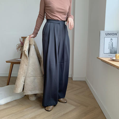 tuck wide long pants/2colors_np0087