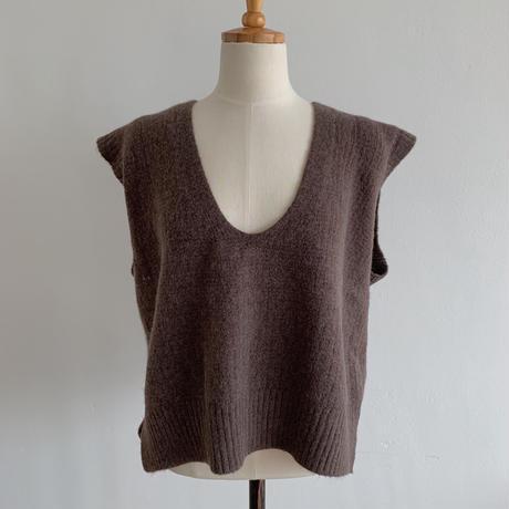 U neck knit vest/2colors_nt0105