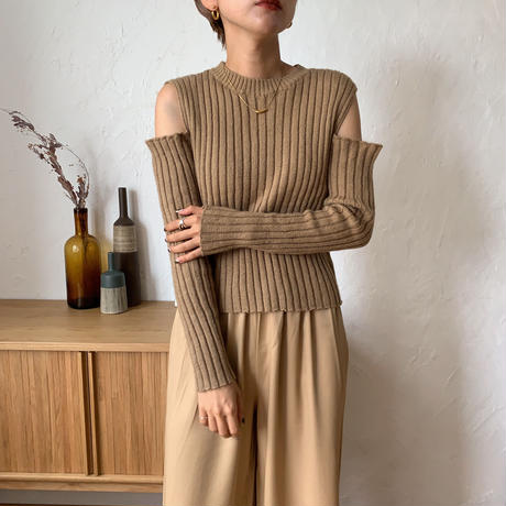 《予約販売》cut out lib knit/2colors_nt0604