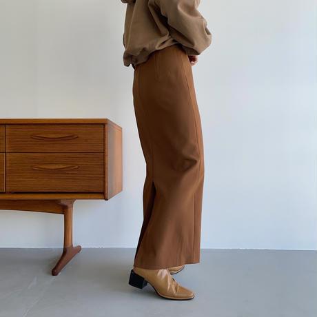 【nokcha original】stitch long skirt/camel brown_ns0059