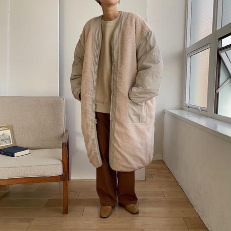 《予約販売》unisex reversible quilting long jacket/2colors_no0135
