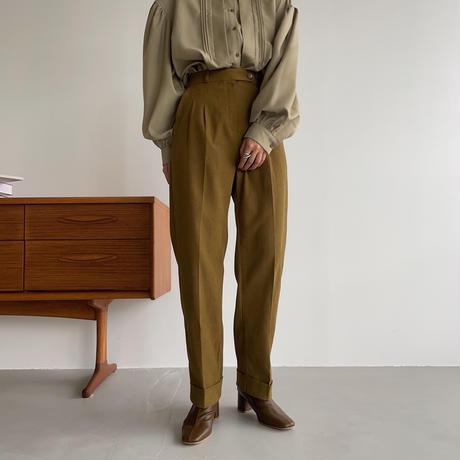 【nokcha original】roll up tapered pants/olive_np0460