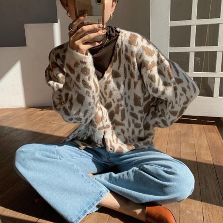 《予約販売》leopard over knit cardigan_nt0684