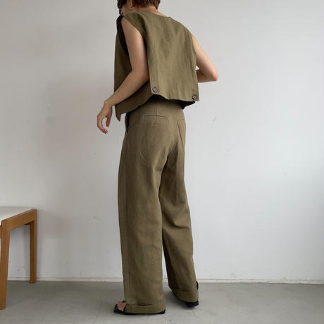 【nokcha original】2way linen vest/khaki_nt0966