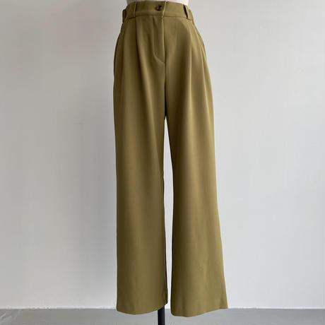 【nokcha original】 quality two tuck wide pants/green tee_np0466