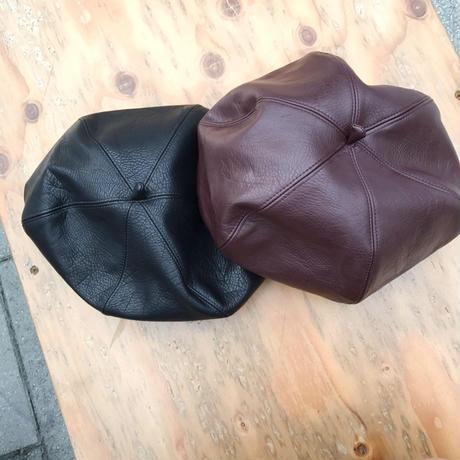 フェイクレザーベレー帽/ 2colors