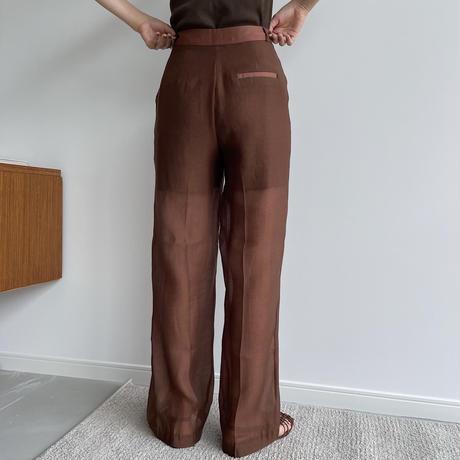 【nokcha original】quality sheer pants/brown_np0415
