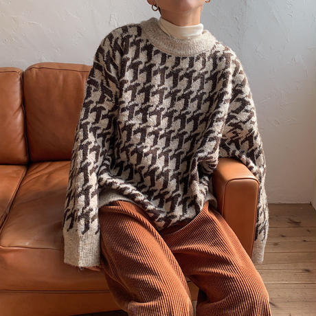 《予約販売》hound tooth over knit/2colors_nt0693