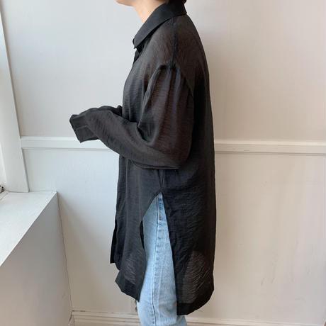 ✳︎予約販売✳︎sheer  slit shirt/2colors_nb0002