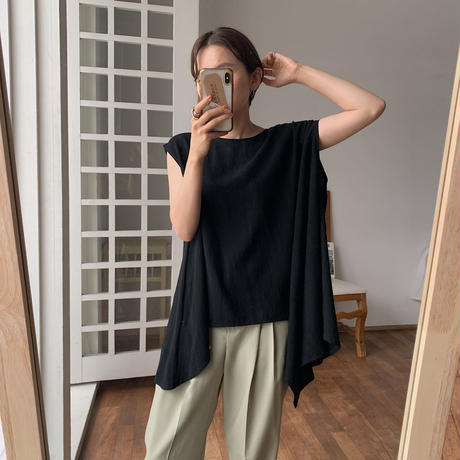 《予約販売》2way unbalance linen blouse/2colors_nt0483