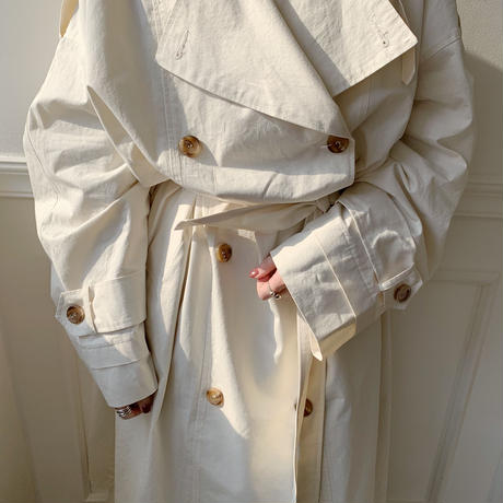 【NOKCHA  original】over trench coat /ivory_no0005