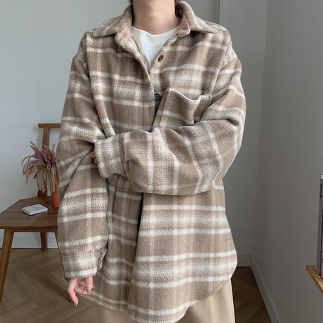 ✳︎予約販売✳︎wool blend check shirt jk_no0042