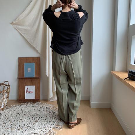《予約販売》material tuck pants/2colors_np0043