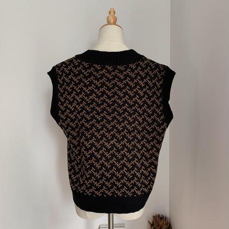《予約販売》pattern knit vest/2colors_nt0602