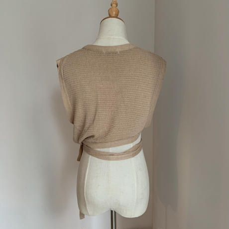 【nokcha original】thermal knit bustier/ beige_nt0455
