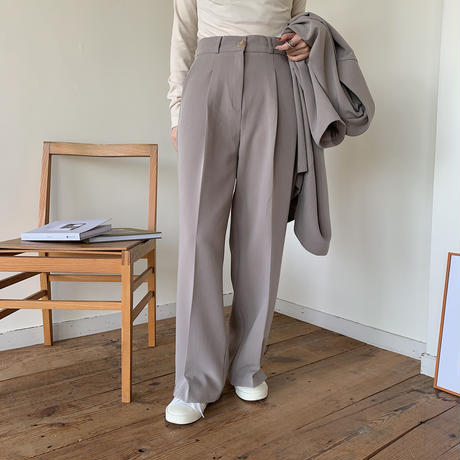 【NOKCHA original】quality long slacks slit pants/ greige_np0163