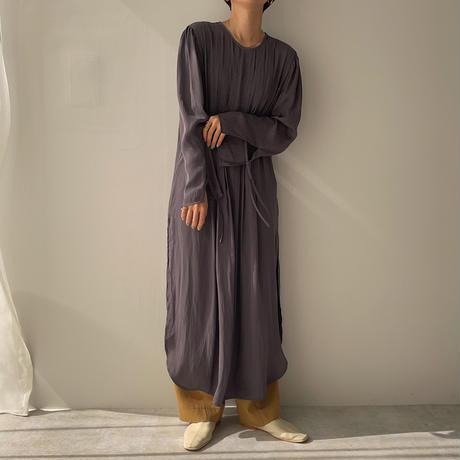 【nokcha original】back open pleats silky ops/charcoal_nd0096