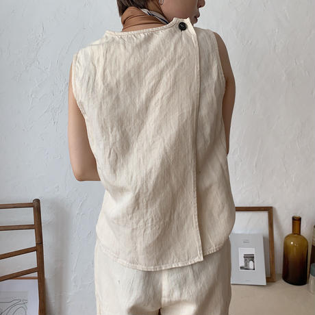 《予約販売》back cross linen tops/2colors_nt0429