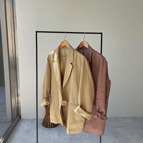 【nokcha original】linen tailored jacket/pink brown_no0159