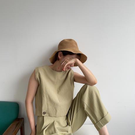 【nokcha original】2way linen vest/pistacchio_nt0967