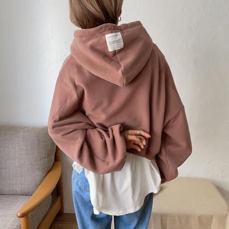 【nokcha original】label hood pullover/dark pink_nt0735