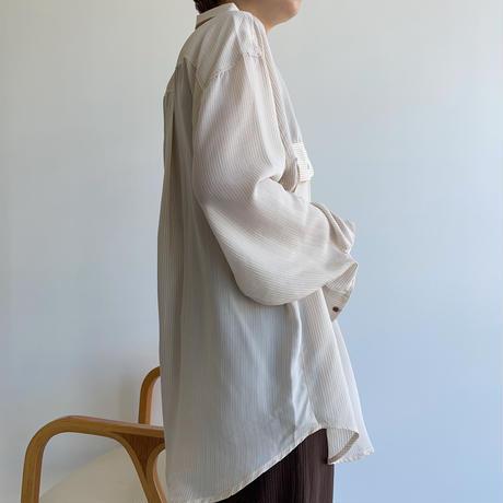 【nokcha original】pin stripe sheer over shirt/ivory_nt1044