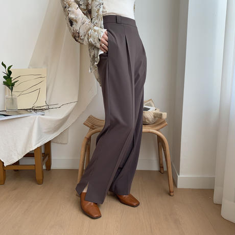 【nokcha original】slit long slacks pants/2colors_np0146