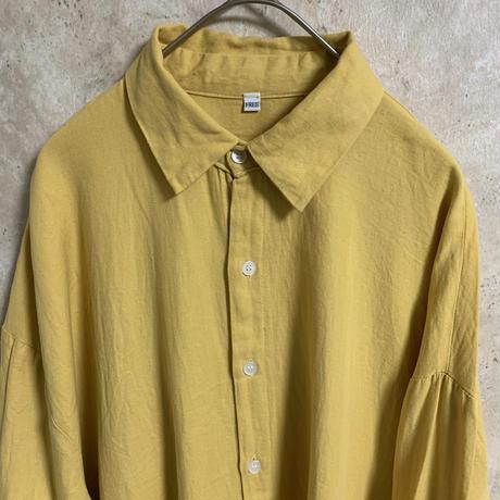 イエローBIGシャツ【FREE】【メンズ古着】【used】【vintage】