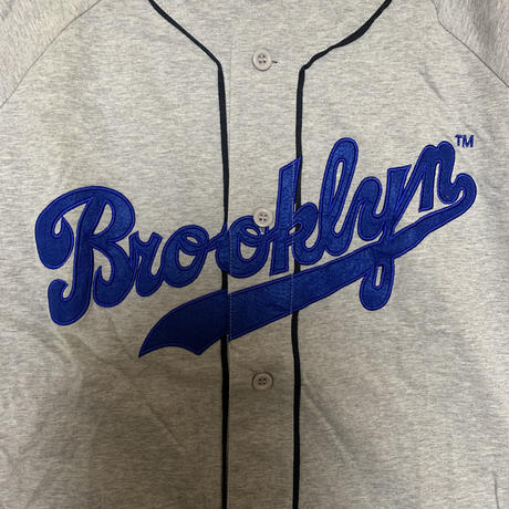 【Majestic】ベースボールシャツ【L】【BROOKLYN】【ゲームシャツ】【メンズ古着】【used】【vintage】