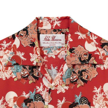 Aloha Blossom  × NONBEE! ハワイアンシャツ 半袖  赤