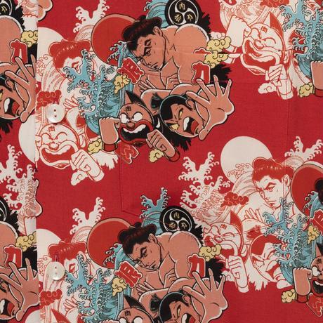 Aloha Blossom  × NONBEE! ハワイアンシャツ 長袖  赤
