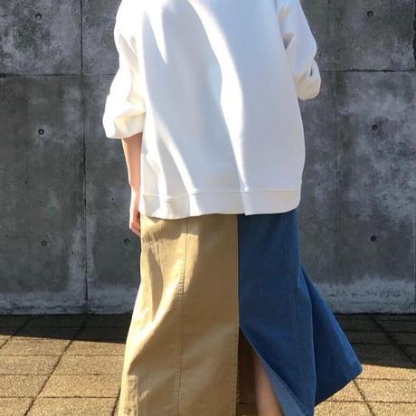 2021ss  【合皮圧着ロゴ】 ダブルフェイVネックカットソー- LER-20151 --~praia~