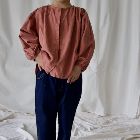 KIDS  balloon-sleeve blouse 〜140cm (2color)