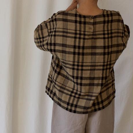 KIDS gauze check blouse (2color)