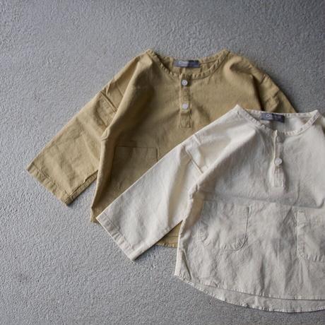 Jr. cotton henryneck pocket shirt  (2color)