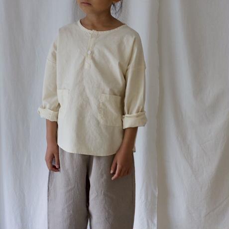 [残りivory140-150のみ] Jr. cotton henryneck pocket shirt  (2color)