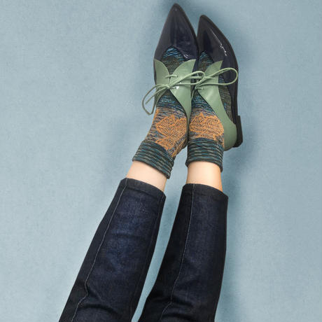 【nonnette】 Dancing leaf  Socks    NS238Y-80/ blue