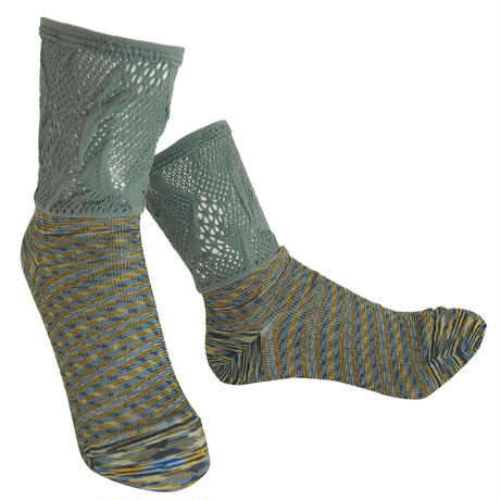 【nonnette】 Marble color fabric combination  Socks    NS235R-93/ olive  gray