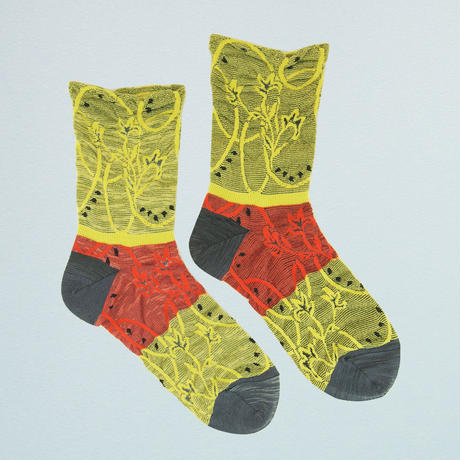 【nonnette】 Circular stem  Socks      NS220T-  20/ lime yellow