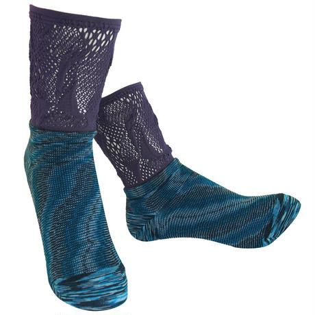 【nonnette】 Marble color fabric combination  Socks    NS235R-40/ purple