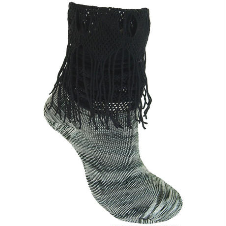 【nonnette】 Marble color fabric combination fringe High socks    NH029R- 99/ black
