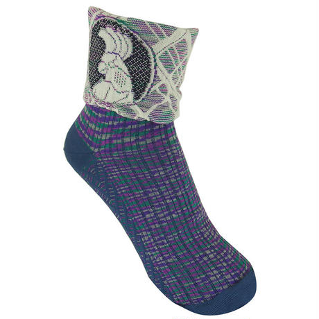 【nonnette】 Bird point  Socks    NS232T- 79 / mole blue