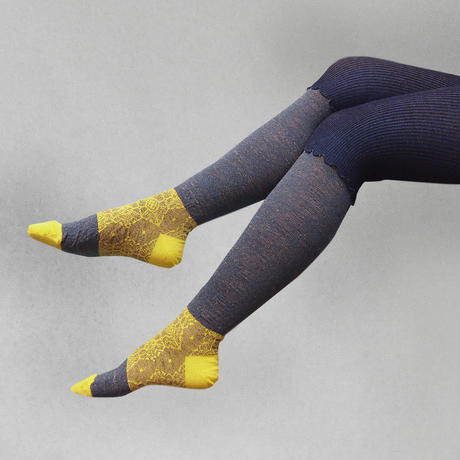 【nonnette】Rib combination wool Tights   NT106R-88/ navy