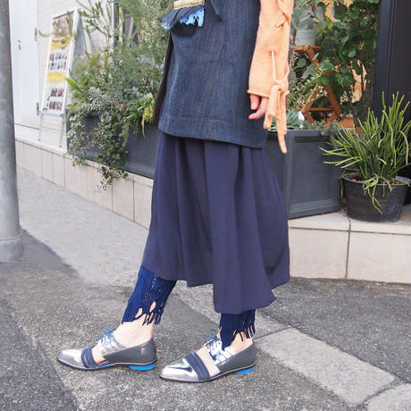【nonnette】 Ribbon and fringe Leggings NL055R- 88/ navy