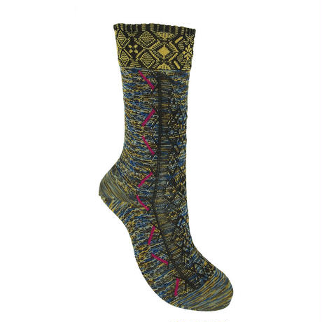 【nonnette】Tyrolean tape  Socks     NS229K-25/ yellow blown MIX