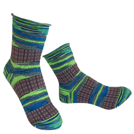 【nonnette】 Plaid mix  Socks    NS231Y- 54/ lime green